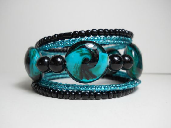 Memory Wire Bracelet Teal and Black Beaded by WrappedandSnapped, $17.00