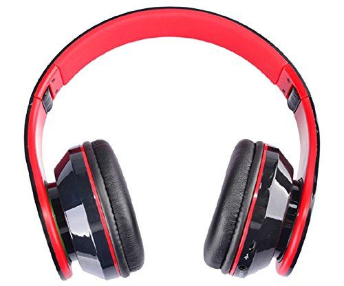 Cooler AT-BT809 faltbare drahtlose Bluetooth Headset Stereo Kopfhörer Mic FM TF Slot für iPhone iPad PC rot, red