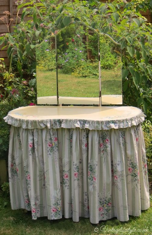 Fabric Dressing Table ~ S dressing table with floral fabric skirt and ruffle