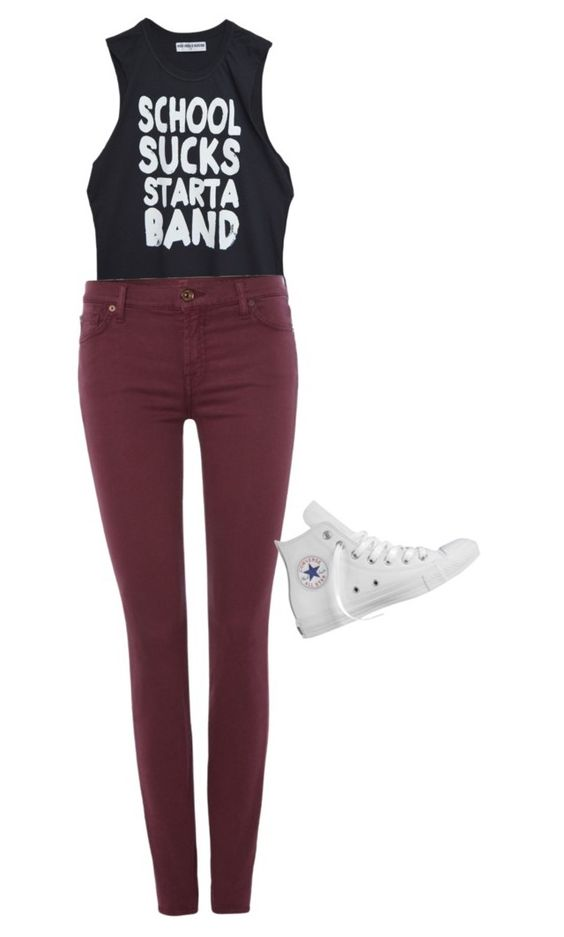 """Untitled #17"" by adaly-navarro on Polyvore featuring beauty, 7 For All Mankind and Converse"