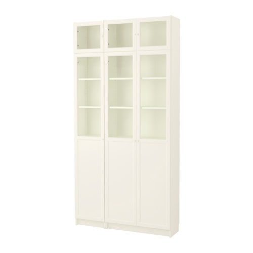 Billy Oxberg Bookcase White Glass 47 1 4x11 3 4x93 1 4 Ikea Dining Room Glass Shelves Ikea White Bookcase