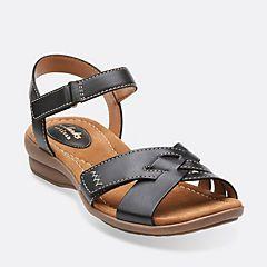Clarks Womens Reid Laguna Black Leather - Sandals
