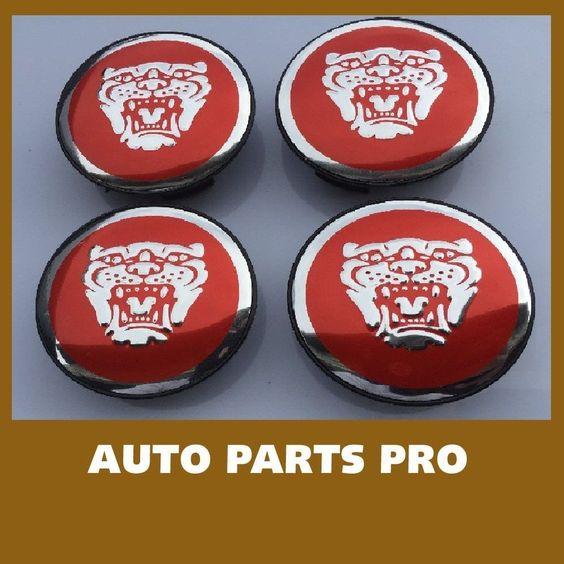 19 New Jaguar Set Of 4 Red Jag Ii Wheel Hub Caps Logo Rim 59mm Cover Emblem Cap Hubcaps Center Caps New Jaguar Hub Caps Jaguar
