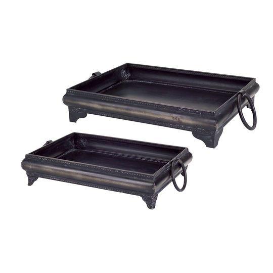 Black Decorative Tray Delectable Burnished Black Decorative Tray Set  Trays Set Of And Black Decorating Inspiration
