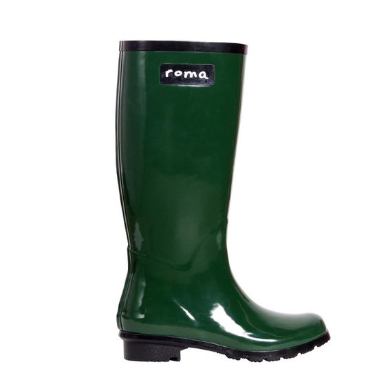 Roma Boots Glossy Hunter Green Rain Boots- eco friendly and philanthropic