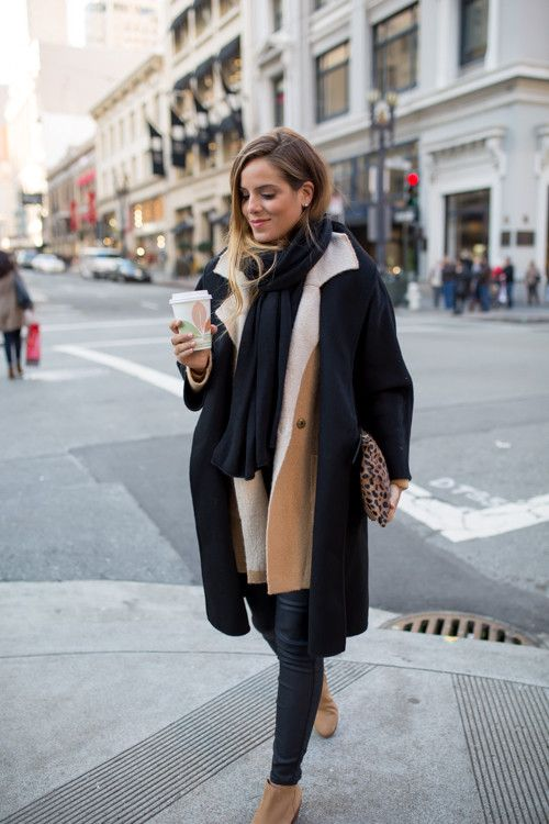 camel jacket in black trench coat | warm chic winter outfits