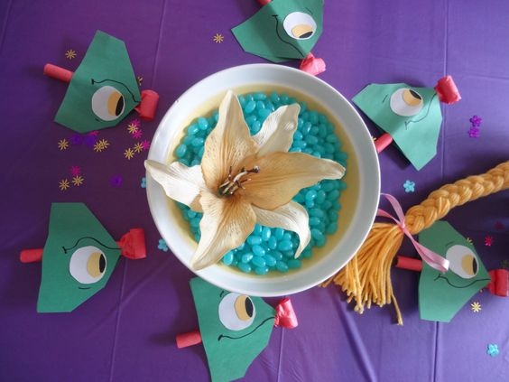 Tangled Party - The Magic Golden Flower.  Everyone had fun eating the jelly beans in hopes of staying young:)