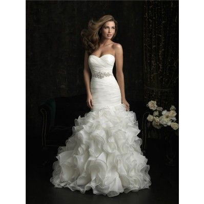 Mermaid Sweetheart Organza Ruffle Fit And Flare Wedding Dress With Crystal Sash- $215