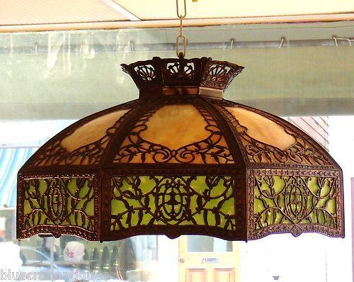 1915 1923 Arts Crafts Empire Lamp Co Slag Glass Lamp Shade Ceiling Light |  eBay