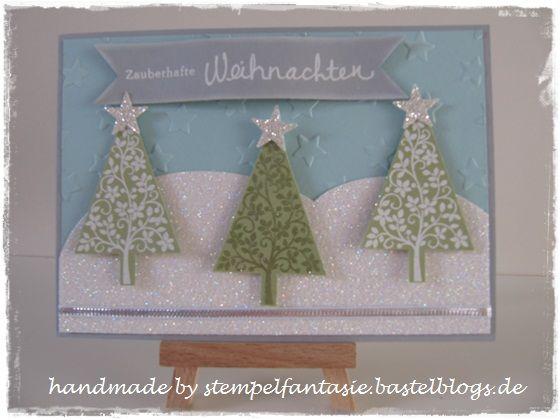Stampin`Up! Weihnachten Christmas 2014 Winterwonderland Glitzer Sterne Tannenbaum Stars