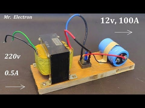 12v 100a Dc From 220v Ac For High Current Dc Motor Power Supply From Ups Transformer Youtube Diy Electronic Kits Power Supply Electrical Projects