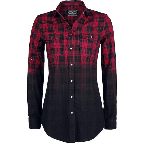 Chequered Dip Dye longsleeved shirt of Rock Rebel by EMP:  - 2 breast pockets with poppers - skull of metal studs on the back - suitable to roll up and attach by the straps on the sleeves