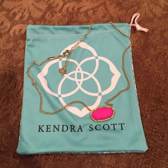 Kendra Scott necklace Hot pink (magenta) KS necklace. The last picture is the size of the stone compared to Elle sized earring. The stone on the necklace is bigger than the commonly seen KS necklaces.  This is called the Dylan pendant. Worn twice. Kendra Scott Jewelry Necklaces
