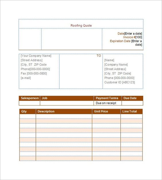 roofing estimate template 10 free word excel amp pdf documents - invoice blanks
