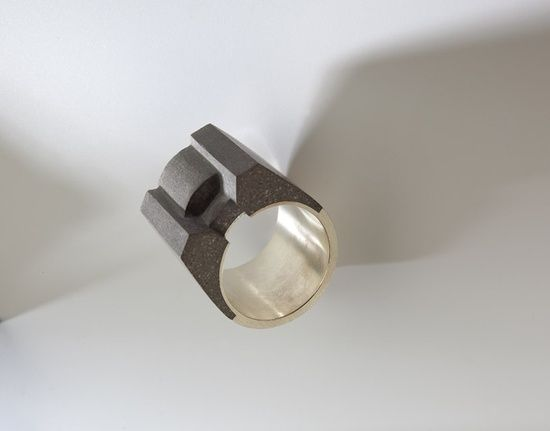 Concrete ring by Holcim Art (author of jewelry is MgA. Katka Venclíková, A graduate of the Academy of Arts, Architecture and Design in Pragu...