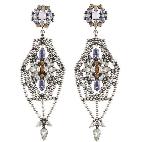 DANNIJO Siempre (€220) ❤ liked on Polyvore featuring jewelry, earrings, dannijo jewelry, swarovski crystal earrings, swarovski crystal jewelry, earring jewelry and oxidized jewelry