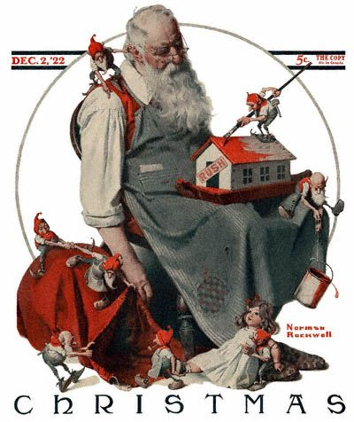 This Norman Rockwell painting, Santa with Elves, appeared on the cover of The Saturday Evening Post published December 2, 1922. This is a timeless favorite of Rockwell collectors