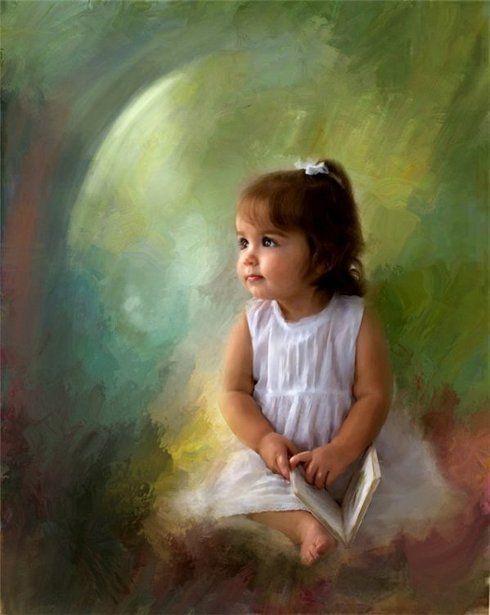 """""""A beleza de uma criança"""" - Pintura de Richard Ramsey (Americano):"""