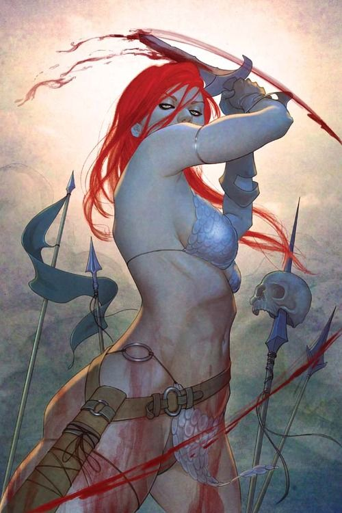 """thewinterborn:  Art by Jenny Frison from """"Red Sonja"""" #4"""
