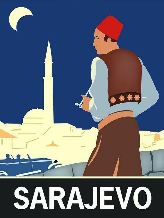 Sarajevo Yugoslavia In 2020 Retro Travel Poster Travel Posters Vintage Travel Posters