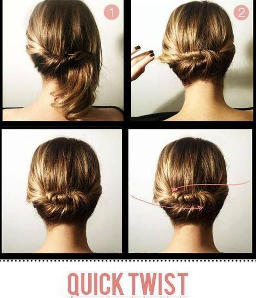 Easy Updo For Short Hair How To : Updo hairstyles medium hairs easy twist diy