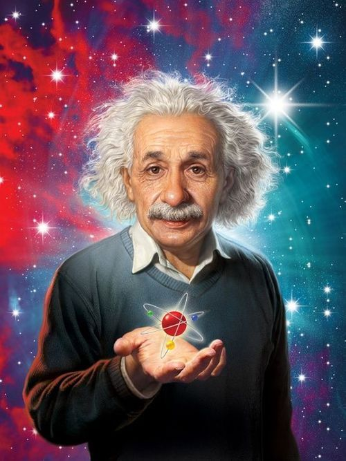 惑星を手に持っているアルベルト・アインシュタインの壁紙・画像