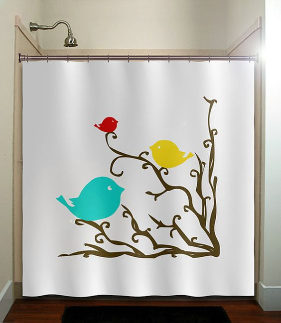Tree branches bathrooms decor and shower curtains on for Yellow and brown bathroom decor