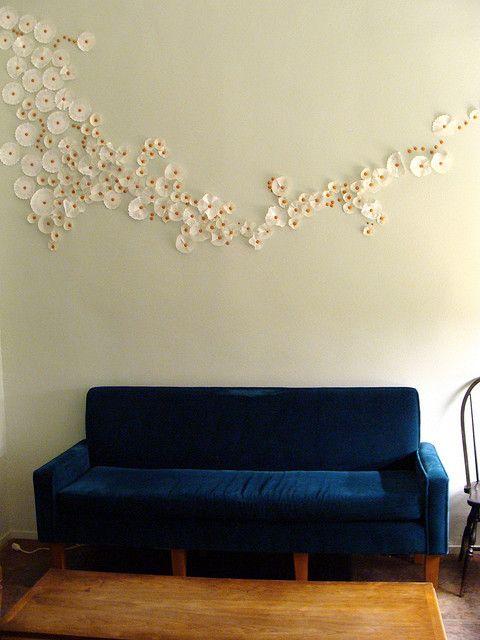 Paper flowers wall art.