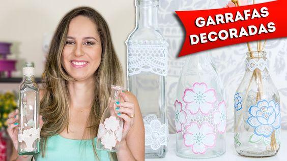 Faça Você Mesmo - Garrafas de Vidro Decoradas Artesanato Passo a Passo R...