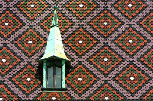 patterned tiles on the roof
