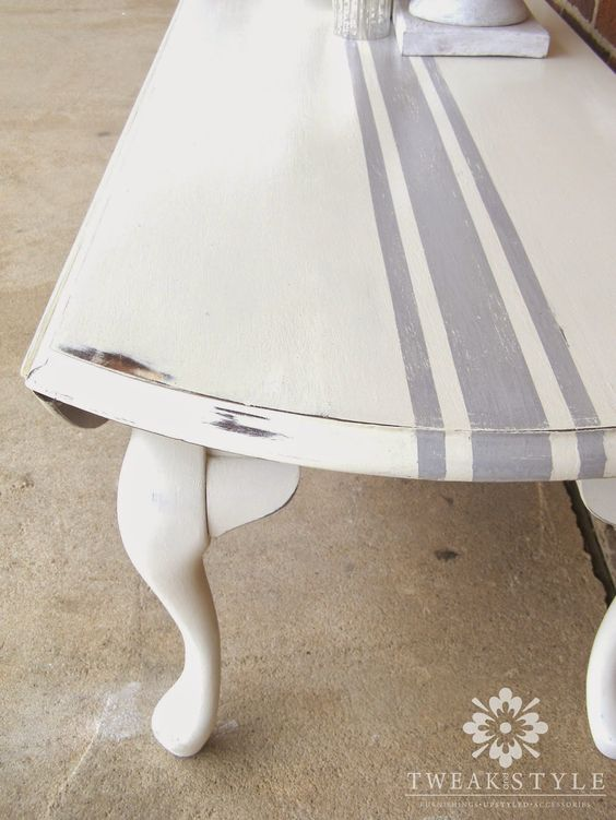 Diy how to paint grain sack striping on furniture via - Painting stripes on furniture ...