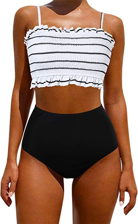 Omkagi Women S Bandeau Bikini Sets Cute Shirred Swimsuit High Waisted Bathing Suit In 2020 Trendy Swimsuits Cute Bathing Suits Swimsuits High Waisted