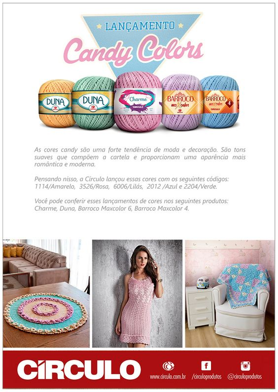Artesanato com amor...by Lu Guimarães: NOVIDADE: FIOS CANDY COLORS!