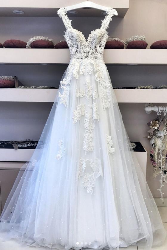 White V Neck Lace Tulle Long Wedding Dress Lace Prom Dress White Lace Wedding Dress Wite Prom Dresses Boho Wedding Dress Lace