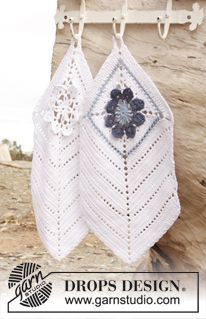 """Crochet DROPS towel with flower squares in """"Cotton Light"""". ~ DROPS Design"""