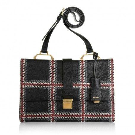 Miu Miu Tasche – Bandoliera Madras Print Nero/Cuoio – in rot, beige, grau, schwarz – Umhängetasche für Damen