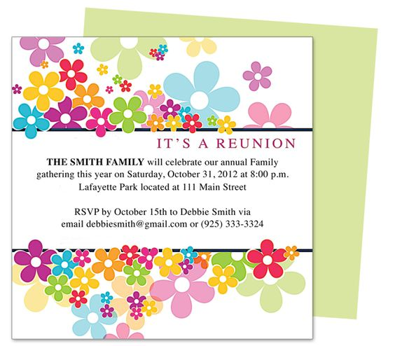 Prosperity Reunion Party Invitation Templates Edits easily in - invitation templates free word