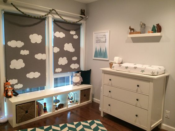 @IKEA USA Shades with Hand Painted Clouds - #nursery #DIY: Alpine Nursery, Nursery Baby, Baby Room, Baby S, Project Nursery, Clouds Nursery
