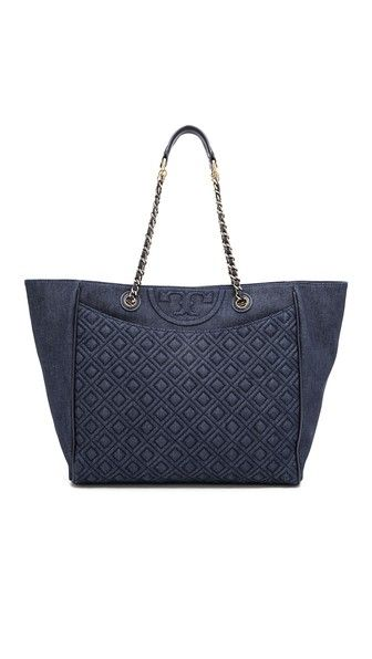 Tory Burch Fleming Denim East / West Tote