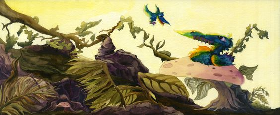 Derpy derp bird sitting on a mushroom with baby bird FW acrylic ink on watercolor paper mariaoglesbyart.blogspot.com