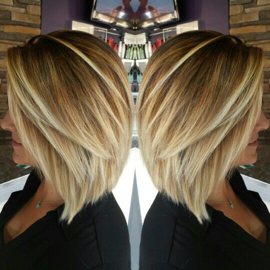 Inverted bob blonde balayage by Jessica hunt IG, Jessicawhunt