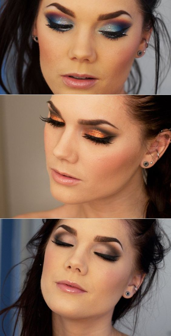 silver, golden and nude eye shadow: