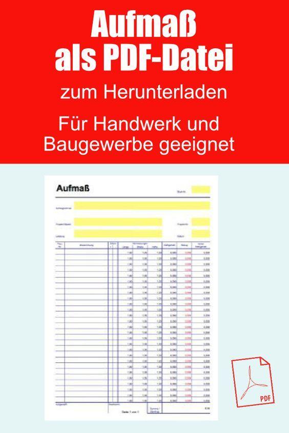 Aufmassblatt Aufmasszettel Als Pdf Datei Fur Ein Aufmass In 2020 Ausdrucken Vorlagen Excel Vorlage