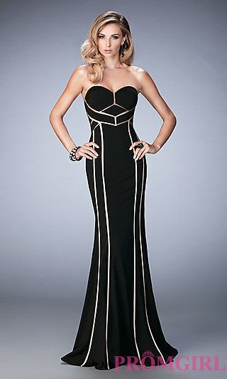 Long Strapless Sweetheart Dress with Gold Trim by La Femme at PromGirl.com