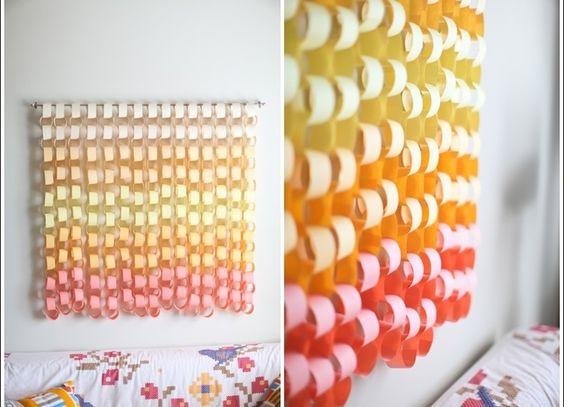 Cortina con cintas de papel hair makeup pinterest for Cortinas decorativas