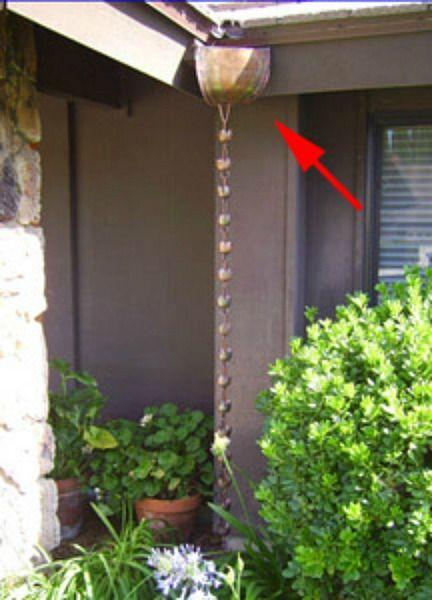 Rain chain copper corner leader head downspout for rain for Rainwater drain problems