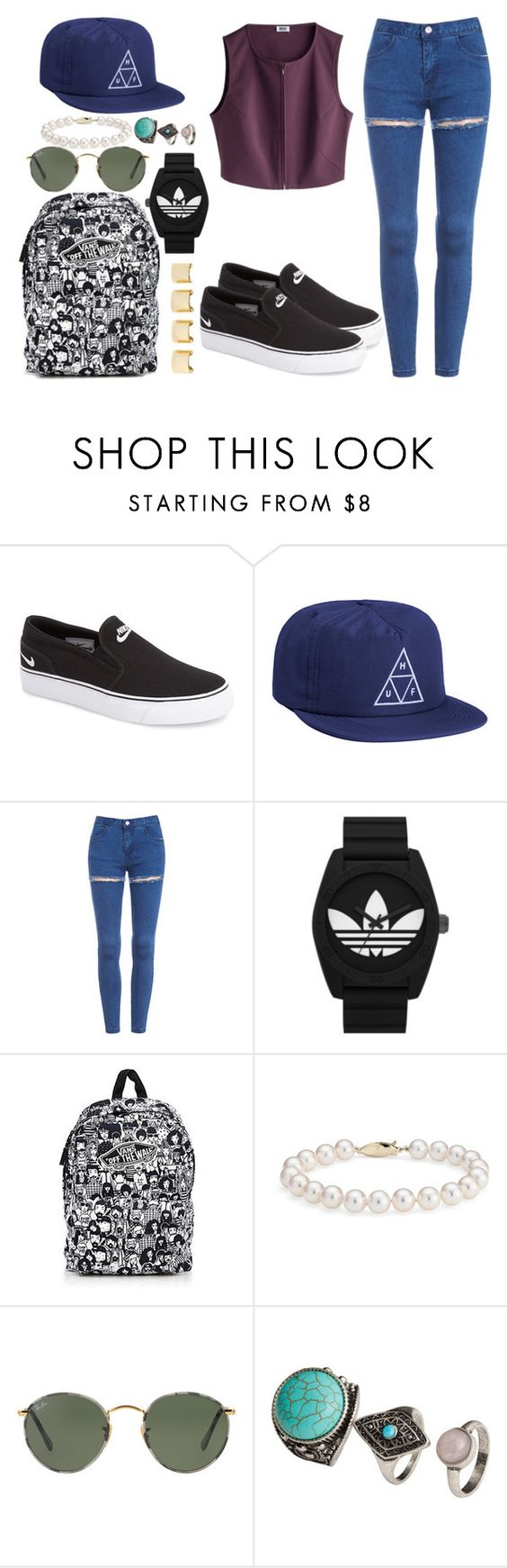 """24/02"" by macarena01 ❤ liked on Polyvore featuring NIKE, HUF, adidas Originals, Vans, Luv Aj, Blue Nile, Ray-Ban, H&M, women's clothing and women"