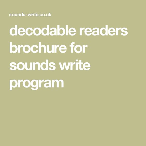 decodable readers brochure for sounds write program