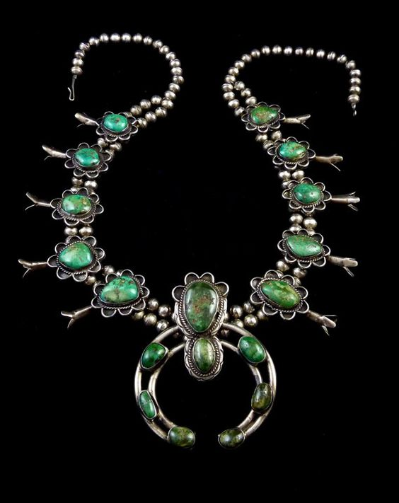 216g Vintage Navajo Sterling Silver Squash Blossom Necklace w Dreamy Deep Green Carico Lake Turquoise! Totally Fabulous All-Time Classic!