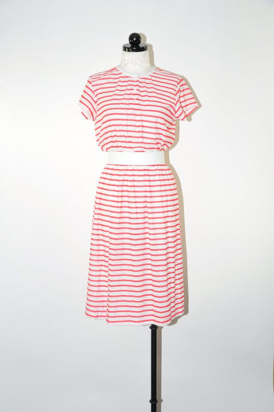80s striped jersey dress / vintage 1980s red and white T ...